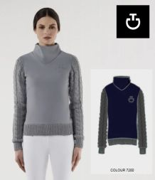 CT Damen Sweater with Cable Knit Sleeves - blau