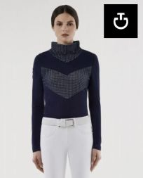 CT Damen Langarm Shirt RETRO SKI Turtleneck - blau